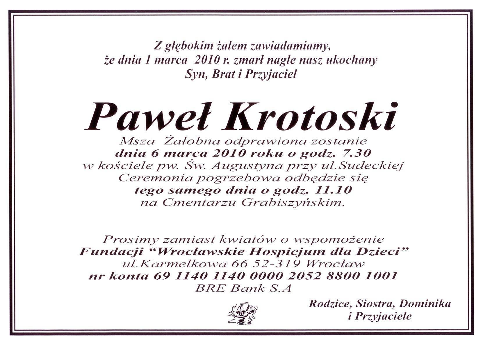 Zmarł Paweł Krotoski - Radio Wrocław